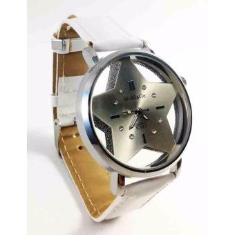 WoMage Star Faux Leather Strap Watch (White) - 2