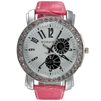 WOMAGE Women Rhinestone Rose PU Leather Wrist Watch