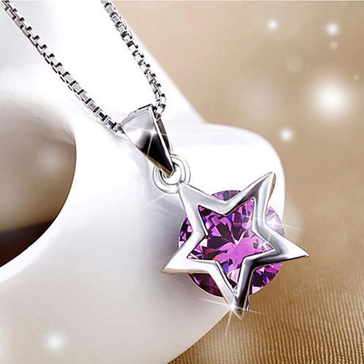 Women 925 Sterling Silver Zircon Star Crystal Pendant Necklace Chain Jewelry NEW intl .