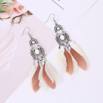 Women Bohemian Long Feather Tassel Earring Dangle Earring - intl - 2