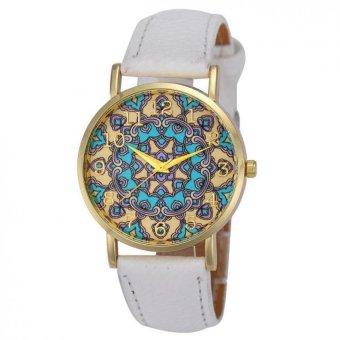 Women Faux Leather Analog Quartz Wrist Watch White
