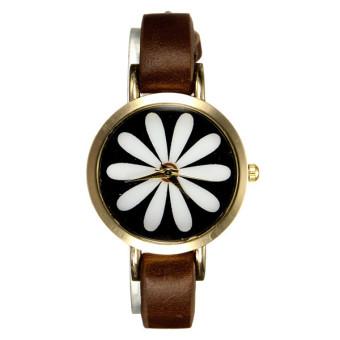 Women Flower Brown Faux Leather Wrist Watch