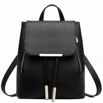 Women PU Leather Backpack School Bag Backpack Travel Bag(Black)