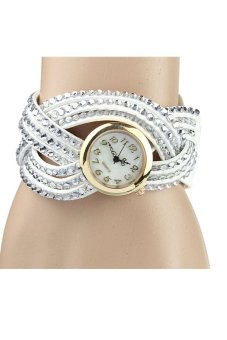 Women Vintage Leather Rivet Bracelet Wrist Watch - White