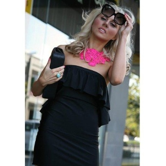 WomenFluorescence Color Hollow Engraving Weave Lace Bib Collar Necklace(hot pink) - intl - 2