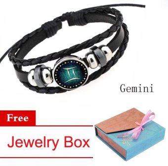 Women/Men 12 Zodiac Signs Gemini Charm Bracelet Beaded BraceletMulti-Layers Leather Friendship Couple Bangle ConstellationBracelet - intl Price Philippines