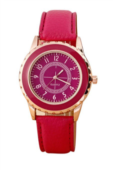 Womens Faux Leather Band Strap Analog Quartz Wrist Watch Red