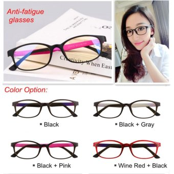 Womens Girls Glasses Eyes Protection Anti-fatigue Vintage Retro Goggle Komputer Unisex Anti Radiasi (Black) - intl