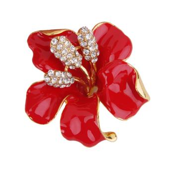 Women's Red Flower Brooch Pin Scarf Clip Jewelry