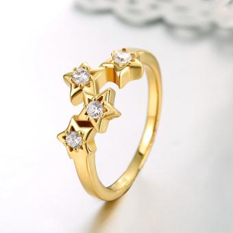 Women's Silverware Zircon Stars Finger Ring Gold (Intl) - picture 2