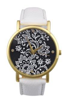 Women's White Leather Strap Watch