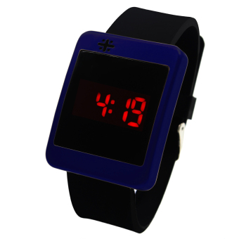 WOW Crux Square Touch LED Unisex Silicon Strap Watch (Navy Blue) - picture 2