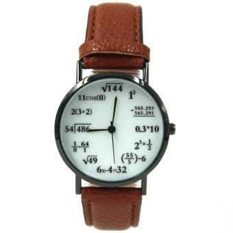 WOW Equation Unisex Brown Leather Strap Watch