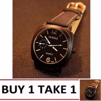 Yazole 339 Men's Luminous Leather Strap Casual Quartz Watch (Black/Black)Buy1 Take1