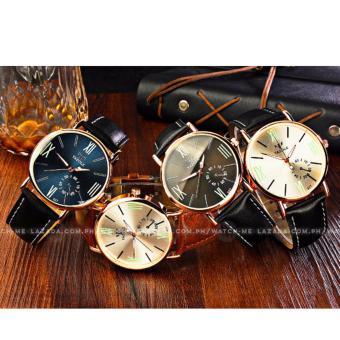 Yazole Men's Classic Deluxe Black Leather Strap Watch - 4