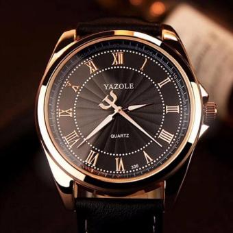 YAZOLE Roman scale business watch men's quartz watch 336 (Black)