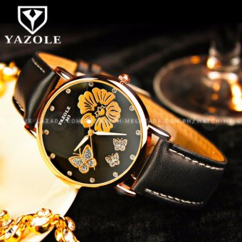 Yazole Women's Nature and Love Flower Deluxe Black Leather StrapWatch