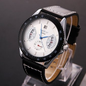 YBC Men Sports Leather Automatic Mechanical Analog Wrist Watch White - intl