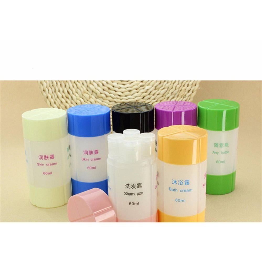 ... Yika 60ML Travel Cosmetics 4 in 1 Set Bottles Shampoo Shower GelStorage Laundry Bag Empty Bottle ...