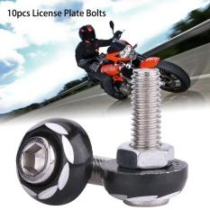 YOSOO 10Pcs Universal Aluminum Alloy Motorcycle License Plate ScrewFastener Black - intl