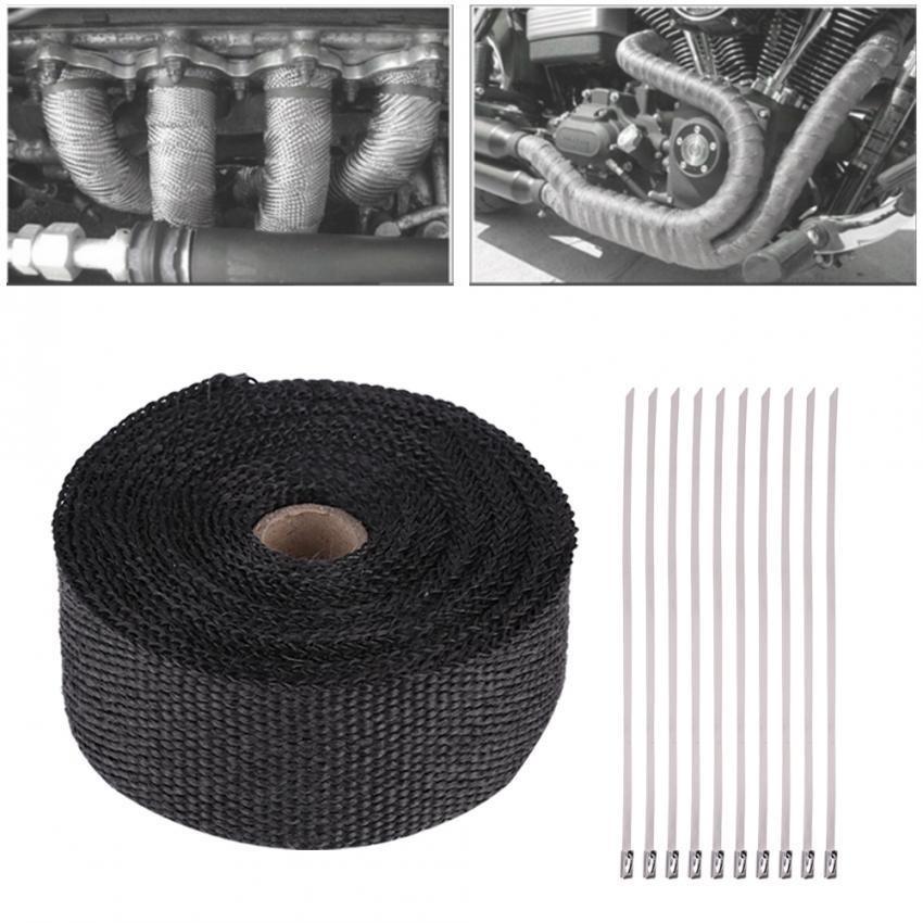 Justgogo YOSOO 16FT Black Heat Insulation Exhaust Pipe Wrap Tape Cloth for  Car Motorcycle
