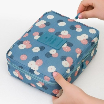 Zipper Nylon Man Women Makeup Bag Storage Travel Wash Pouch Toiletry Bag Cosmetic Bag NO.13 (Blue Sunflower) - intl