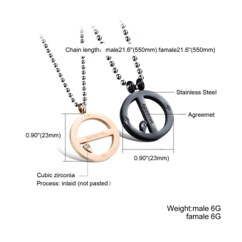 ZUNCLE Couple Pure Steel Personality Titanium Steel Lover Simple Combo with Chain Necklace(Black+Rose Gold) - picture 2