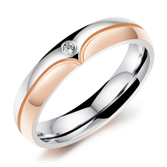 ZUNCLE Italy Heart Women's Diamond Ring(Silver+Rose Gold)-US Size:5