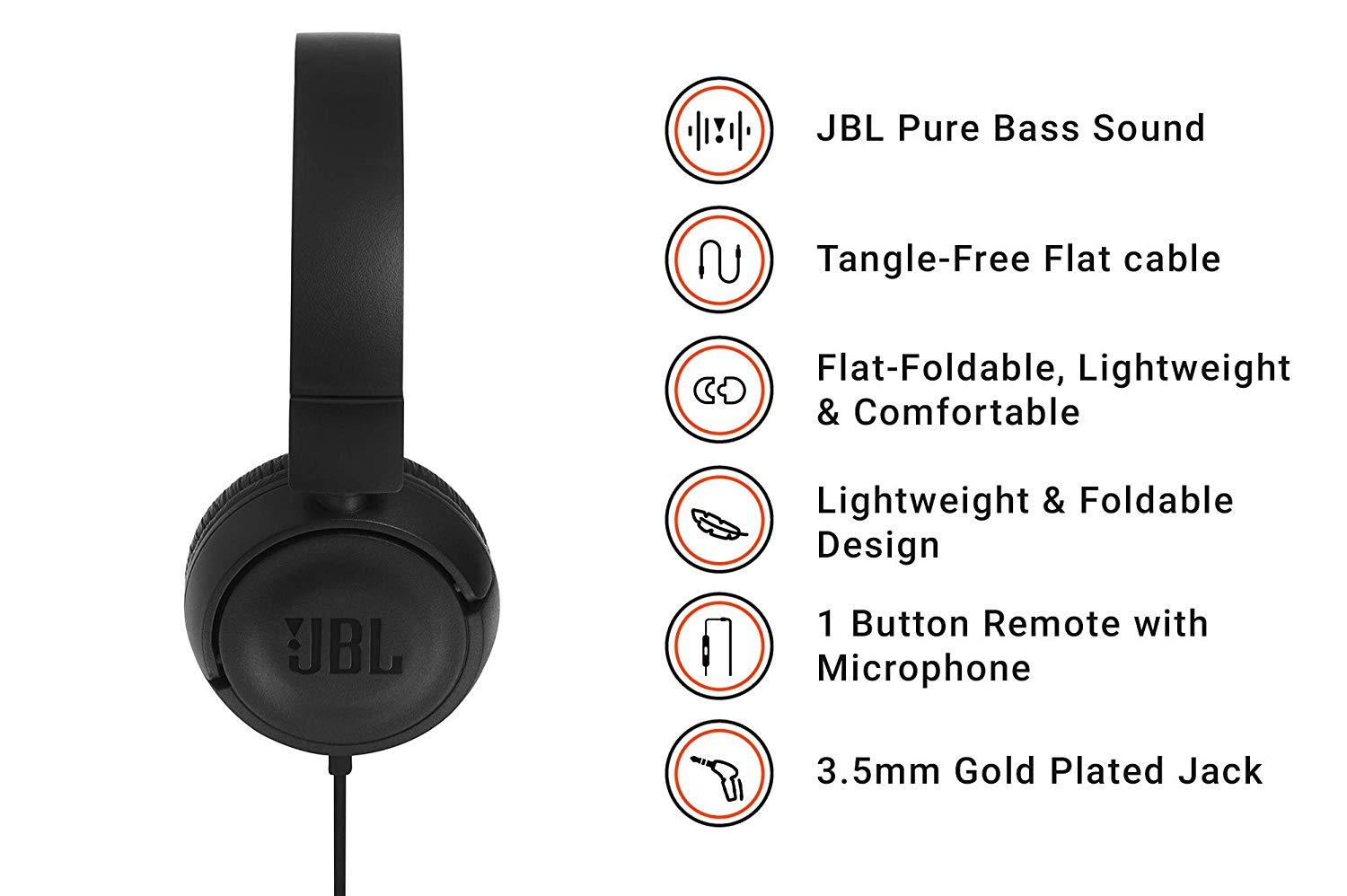 ede70948567 Specifications of JBL T450 On-ear Wired Headphones (Black)