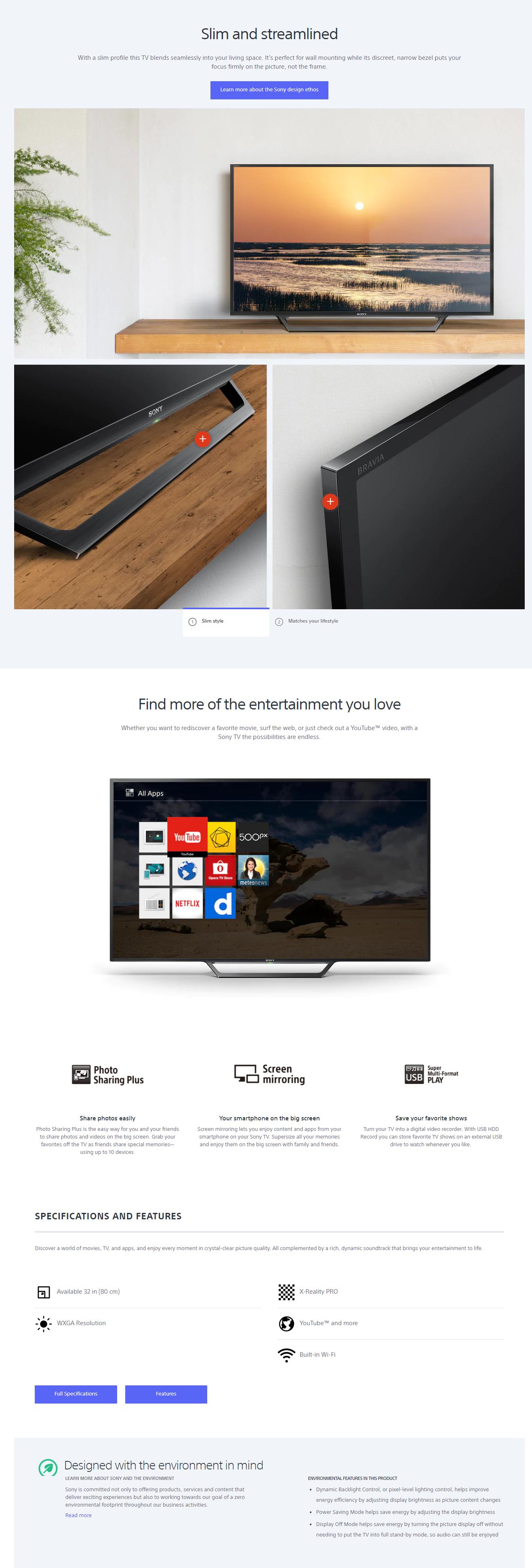 Sony Kdl 32w600d W600d Series Led Hd Ready Smart Tv Lazada Ph