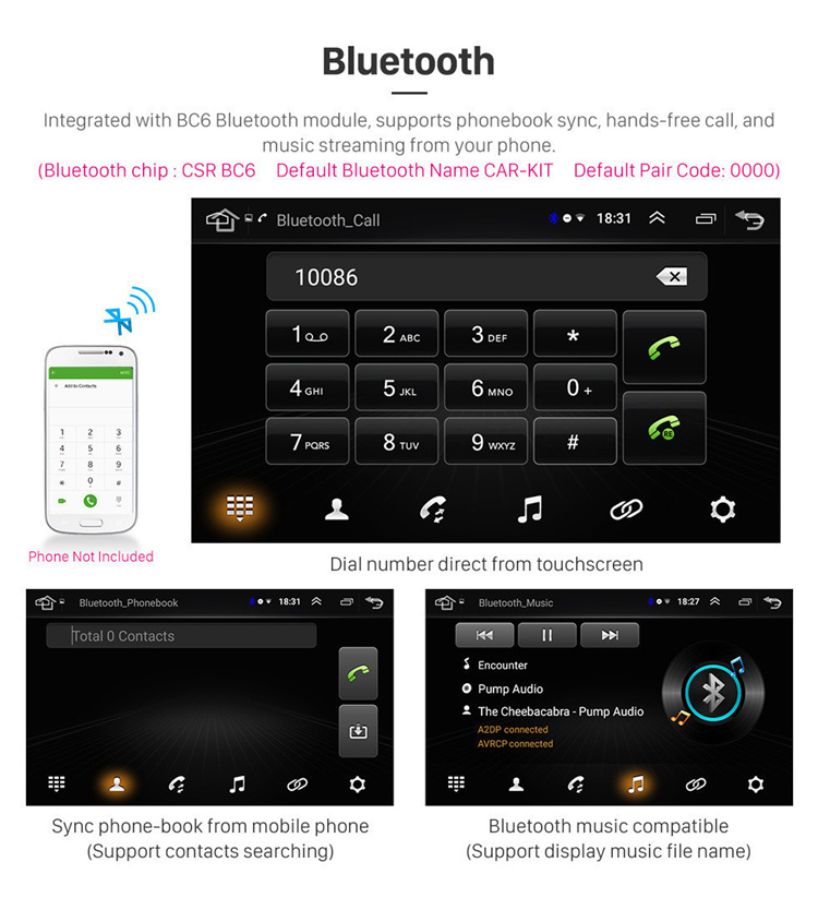 10.1 Inch Android 8.1HD Touchscreen Car Radio MP5 Player for 2012-2017 TOYOTA CAMRY with WIFI Bluetooth Music USB AUX