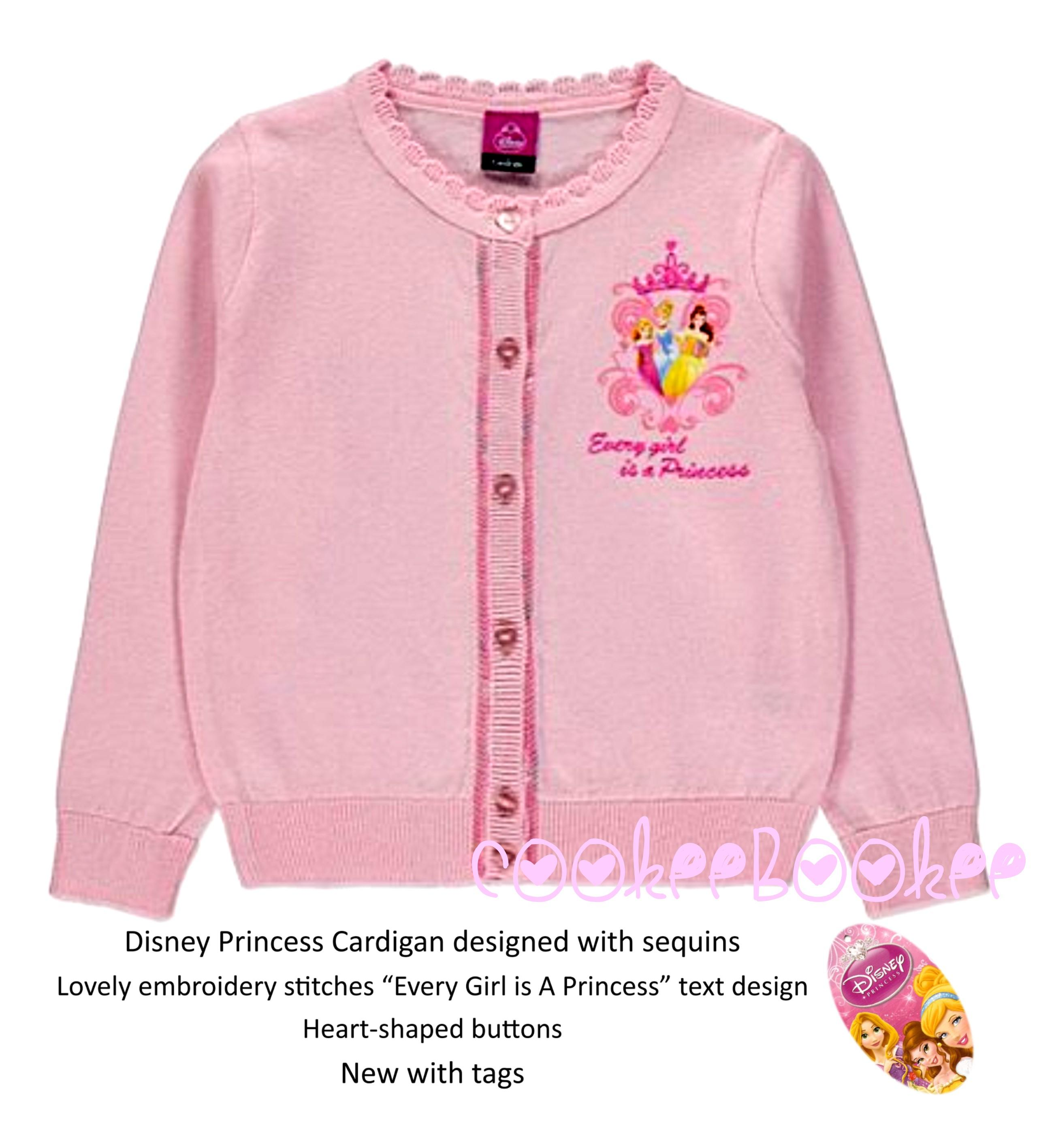 *DISNEY PRINCESS 'Every Girl is a Princess' PINK LIGHT SOFT CARDIGAN /  SWEATER * Heart-shaped buttons * Baby girls UK size 3-4 years *  Quality-made,