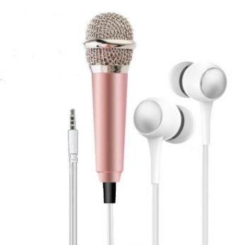 3 5mm Mini Microphone Headphone 2 In 1 Mini Microphone In-Ear Type  Universal Microphone for iphone x 8 plus samsung s9 plus PC iPad (Silver)