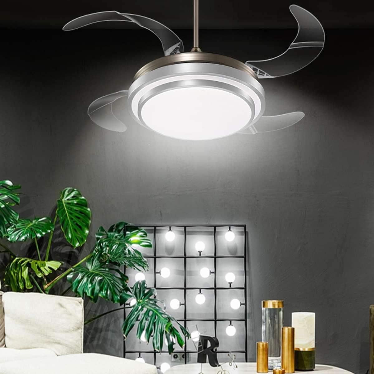 American Retro Restaurant Chandelier Fan Light Ceiling Lights Fan Light Invisible Fan Leaf Bedroom Living Room Room Remote Control Lamp Nclight Fan