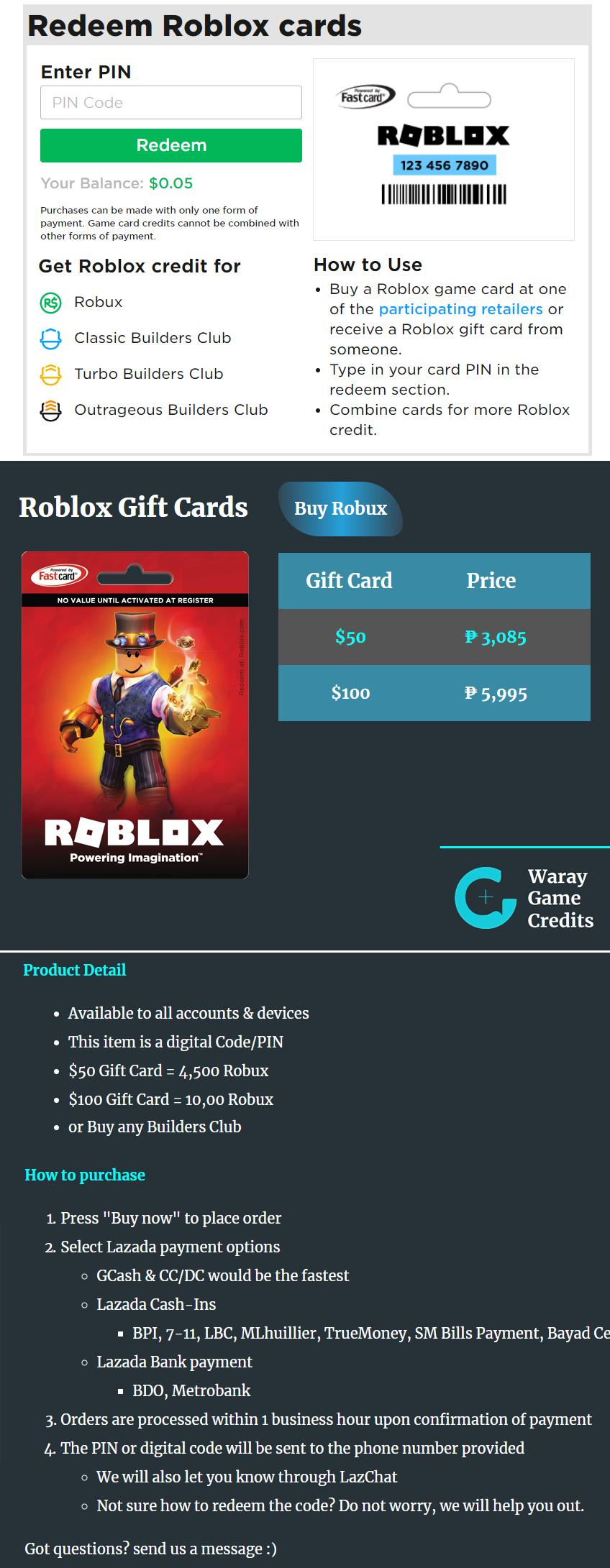 $50 ~ $100 Roblox Gift Card
