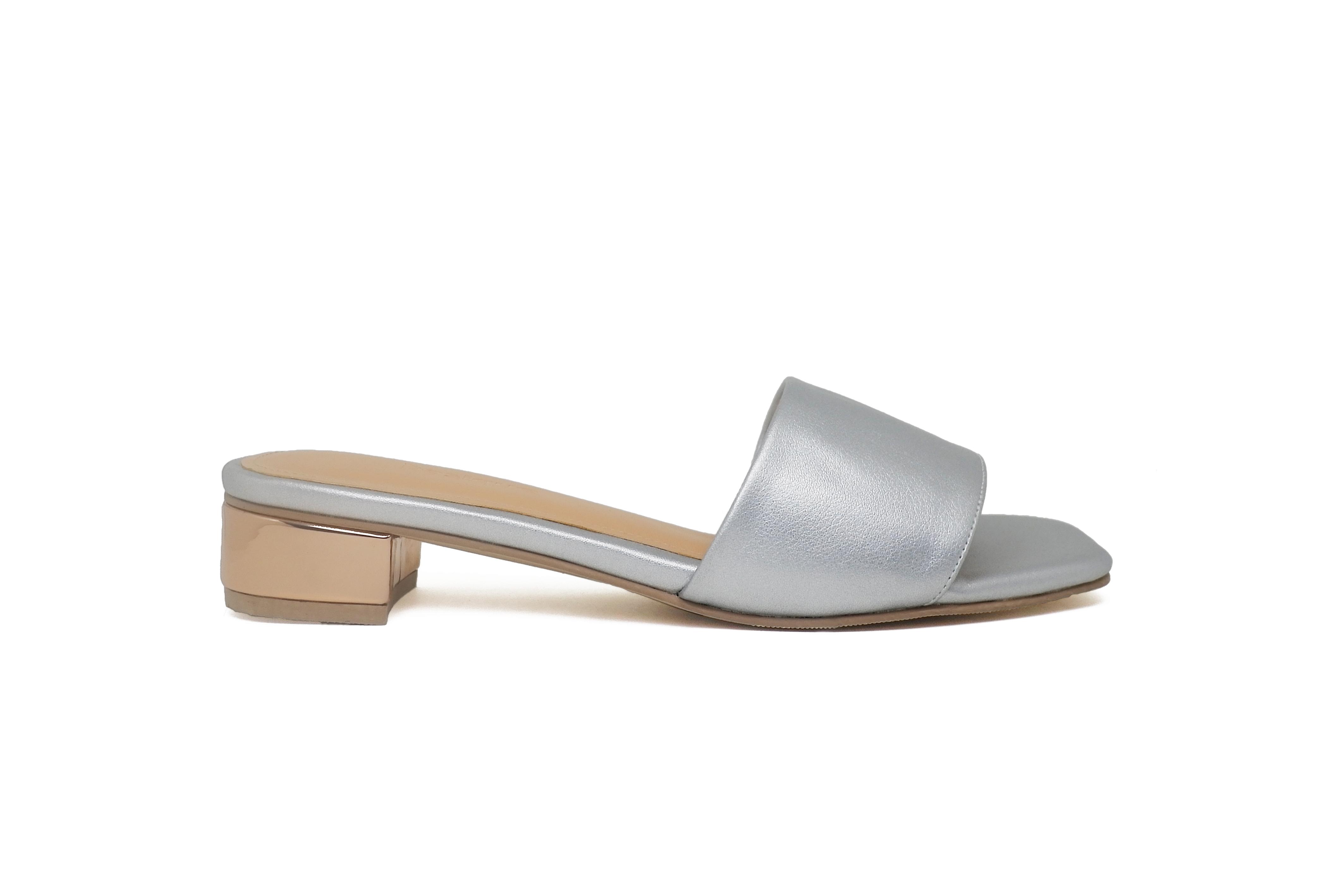 Sandals- Slip On Heels (Metallic Silver