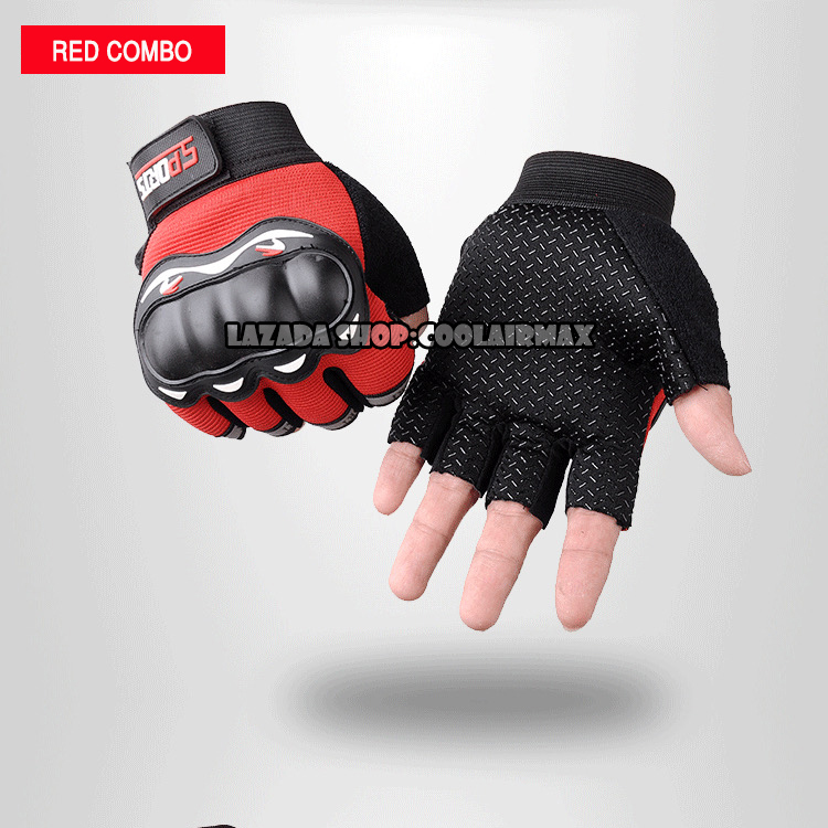 Mens/' Cycling Gloves Half Finger Protective Knuckle Hand Gear Bicycle Outdoor