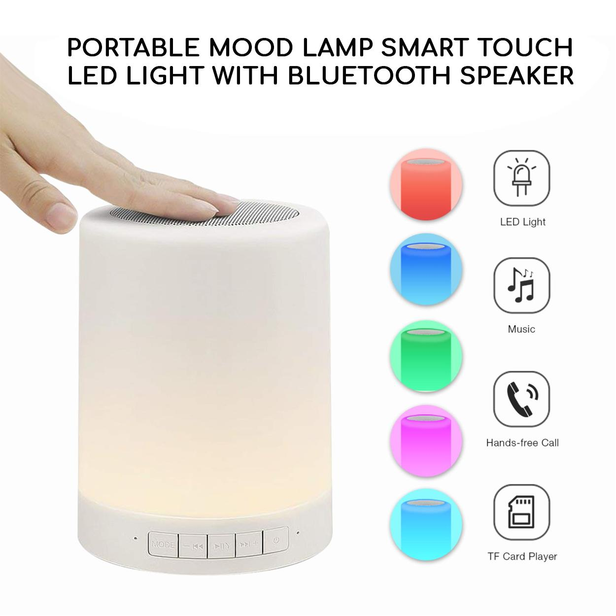 Wireless Bluetooth Speaker with Smart Touch LED Mood Lamp (White