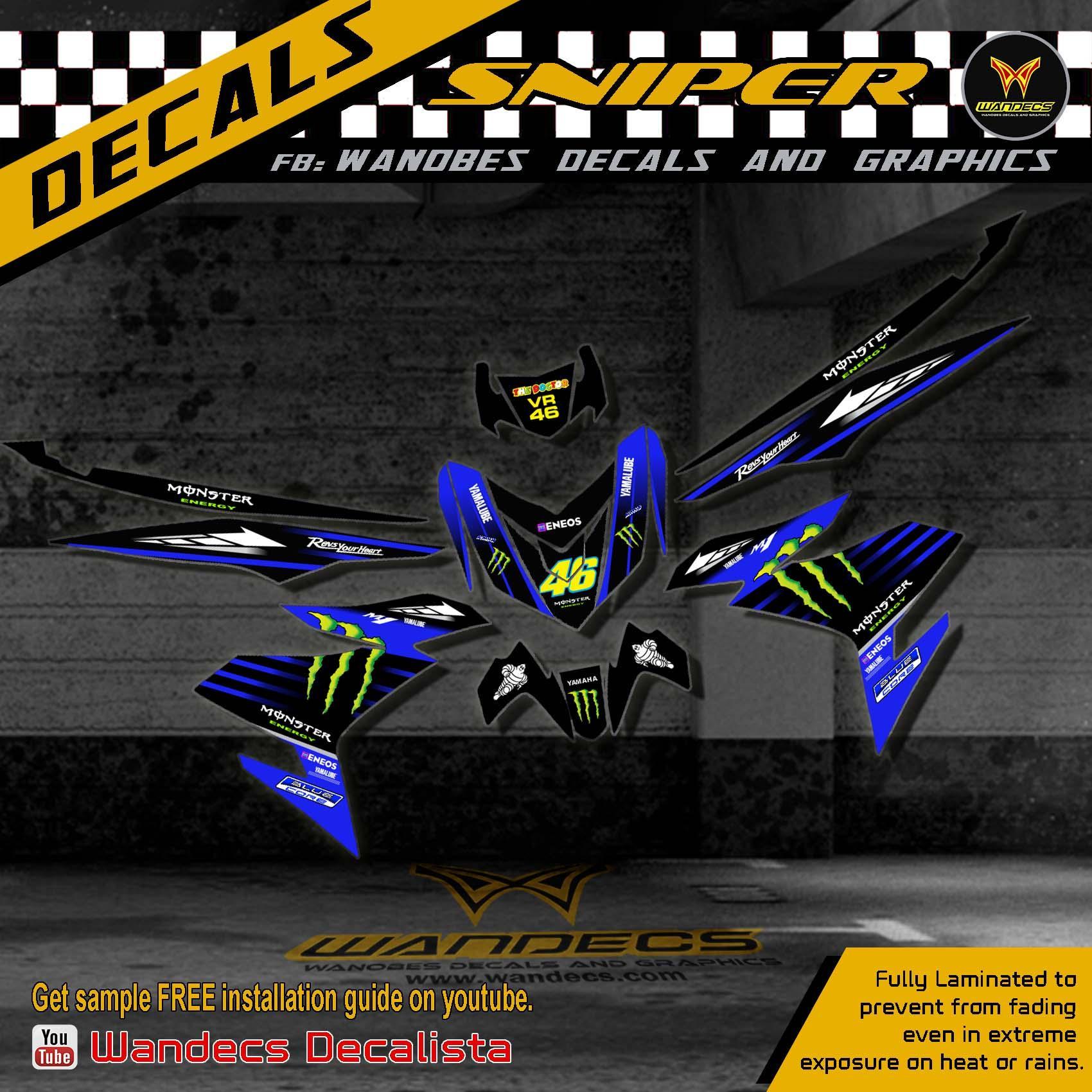Yamaha Aerox Decals Monster Blue