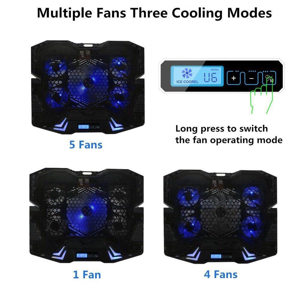 "TopMate 12-15.6/"" Five Quite Fans LCD Screen 2500RPM Laptop Cooler"