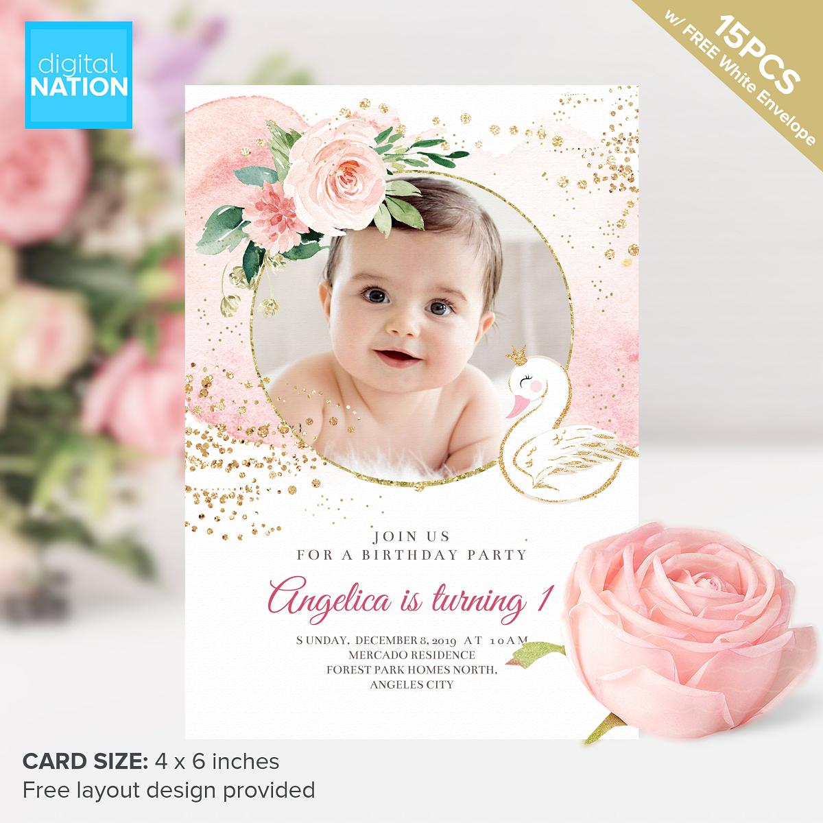 15pcs Birthday Baptism Invitation Card Personalized Invitations For Birthday Free Layout Design Pink Rose