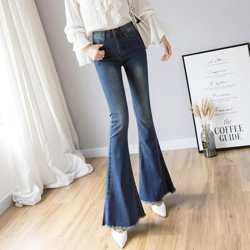 a62b204b1c Vintage Long High Waisted Flare Jeans For Women; Wide Leg Jeans Denim Pant;  Curvy Stretch Mom Skinny Bell Bottom Jeans; Shaping hips jeans