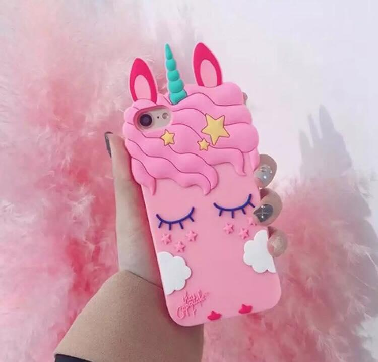 low priced 7368f 10d21 Cute Cartoon Unicorn Phone Case for Iphone 6 6Plus 7 Black and Pink