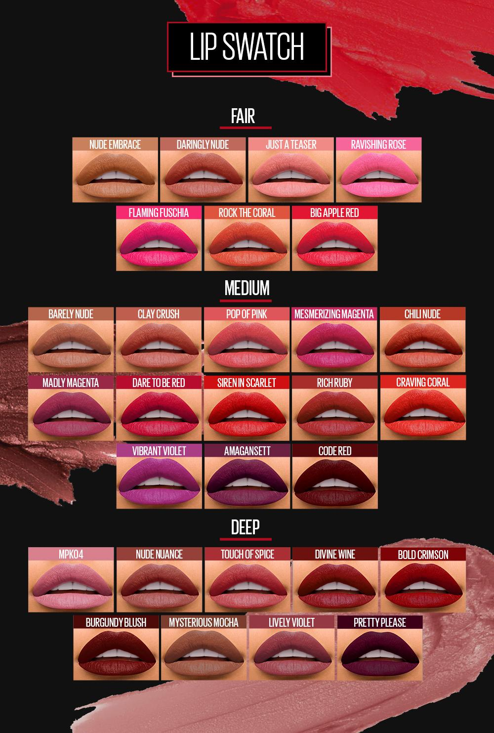 The maybelline color sensational buff collection swatches