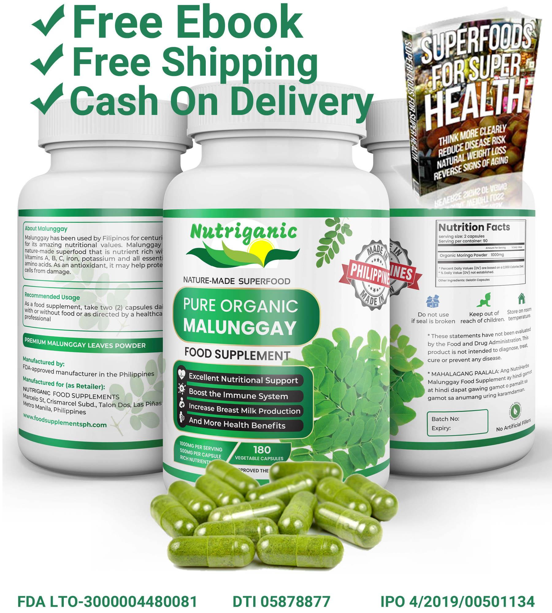 nutriganic malunggay capsule 180 vegetable capsules food complement organic  pure leaf moringa powder 500mg , nature-made health food, excellent