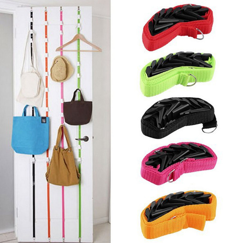 8 Hooks Over Door Wall Storage Organizer Hat Bag Clothes Straps Hanger Rack New