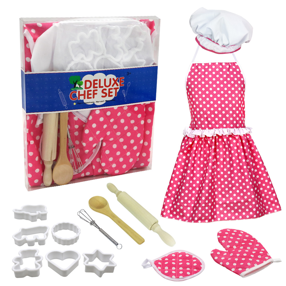 13pcs Kids Chef Set Children Cooking Play Kitchen Waterproof Baking Aprons Oven Glove Eggbeater Girls Gift