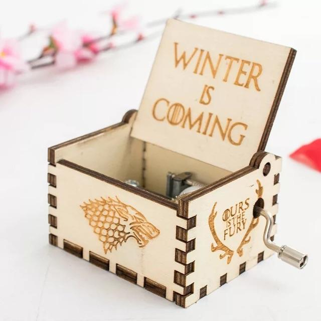 WOODEN PHONOGRAPH MUSIC BOX GAME OF THRONES WINTER IS COMING