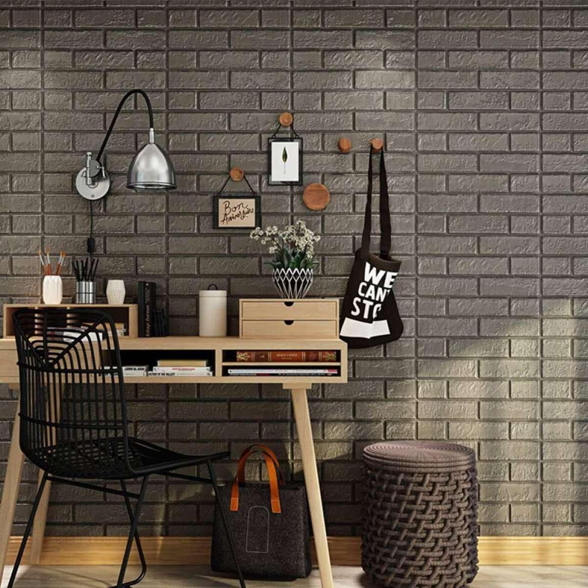 Celina Home Textile Pe Foam 3d Dark Gray Stone Brick Panel Wall Sticker 70 70cm Home Decor Living Room Wallpaper For Kids Rooms Self Adhesive Diy Art