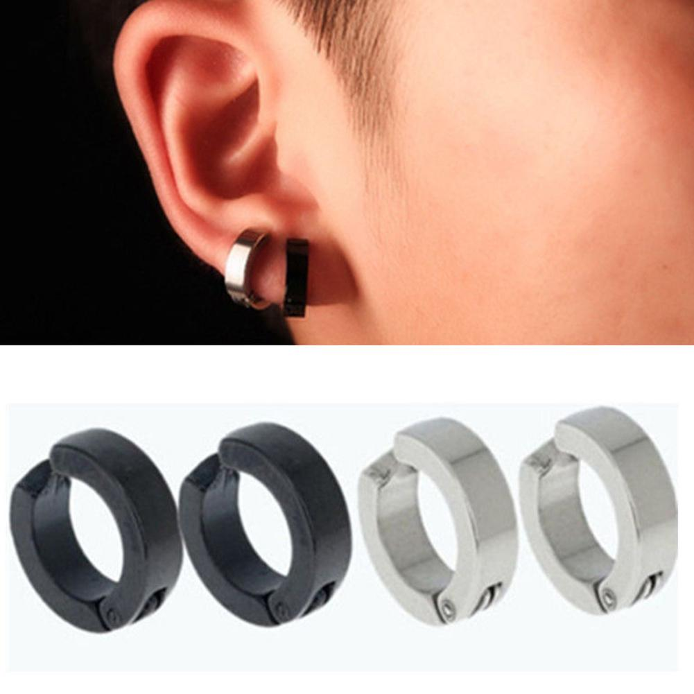 77a337b00 Product details of BODHI 1 Pair Men Stainless Steel Non-Piercing Clip On  Ear Stud Cuff Hoop Earrings (Black) - intl